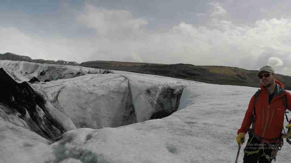 glacier crevasse in iceland