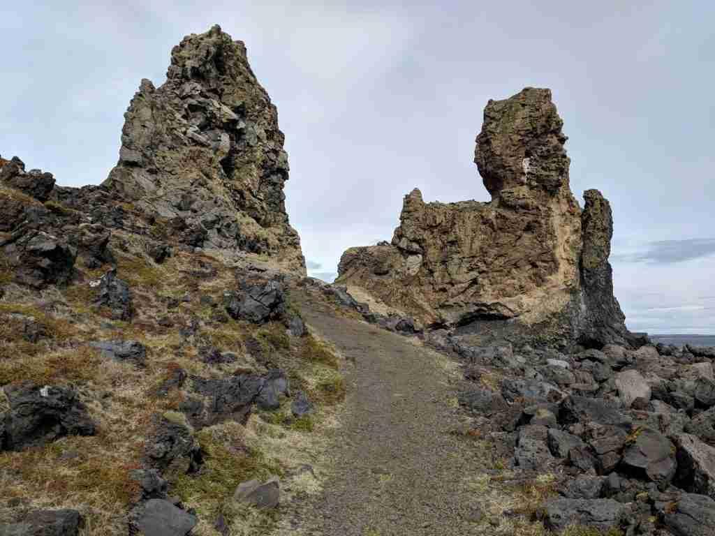 lóndrangar in snæfellsnes peninsula in iceland