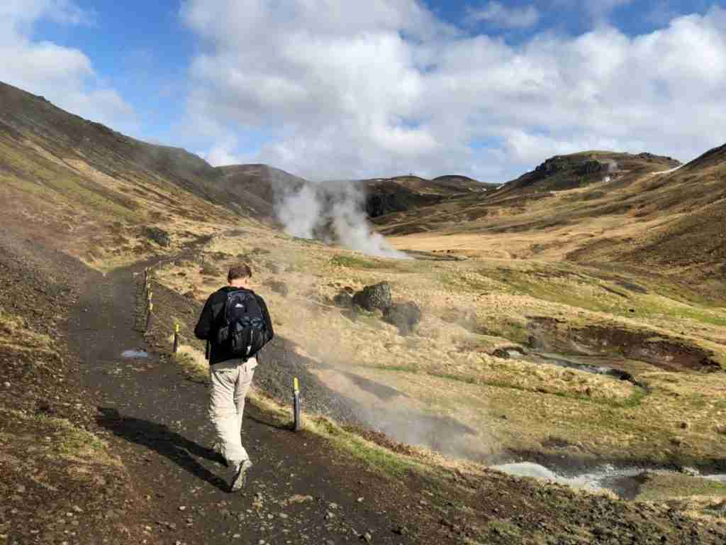 hiking reykjadalur valley in iceland