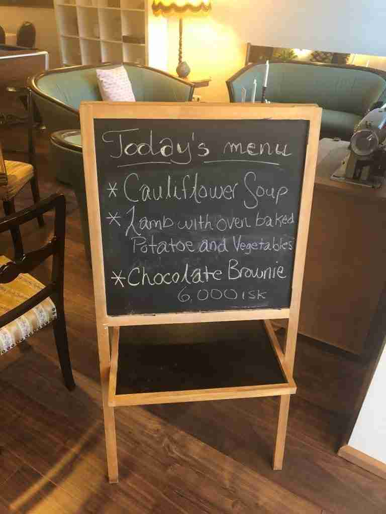 menu for iceland restaurant