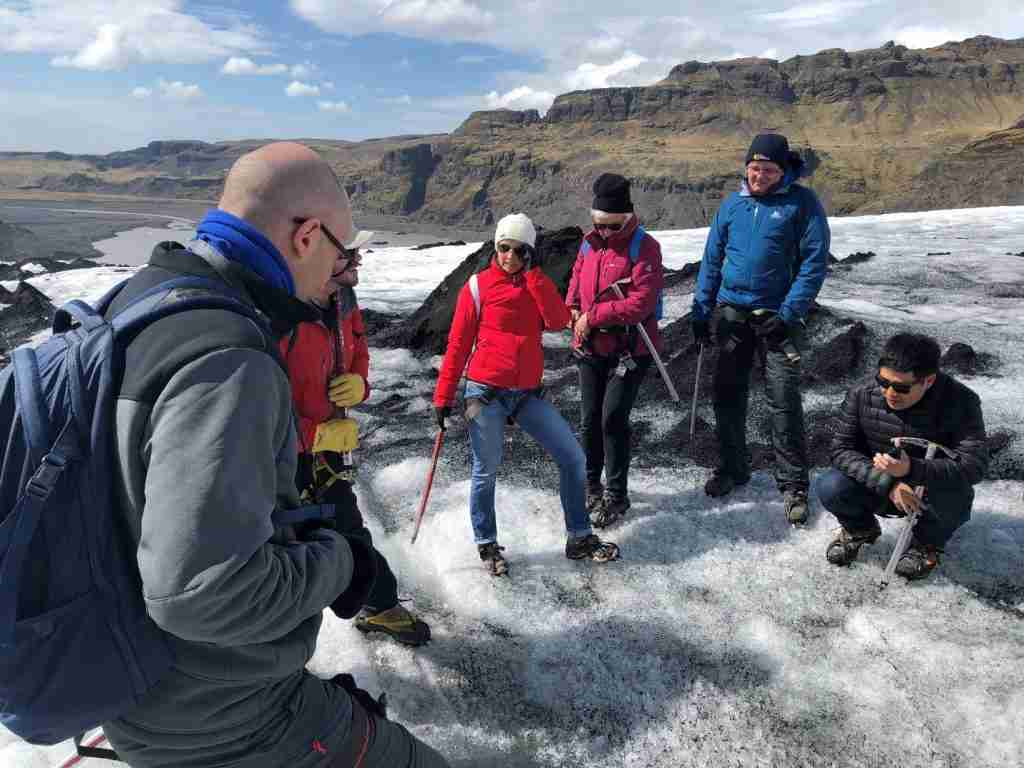 iceland travel on a glacier