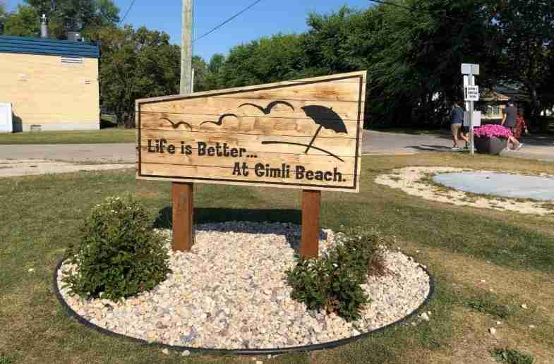 Gimli beach sign
